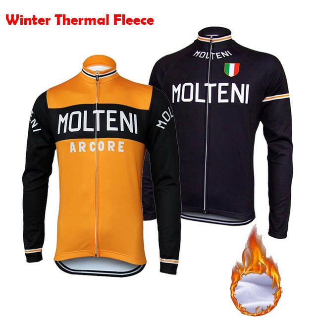 MOLTENI Long Sleeve Cycling Jersey Winter Fleece Retro Road Pro MTB Bike