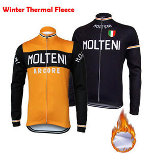 af2b909f8 Image is loading MOLTENI-Long-Sleeve-Cycling-Jersey-Winter-Fleece-Retro-