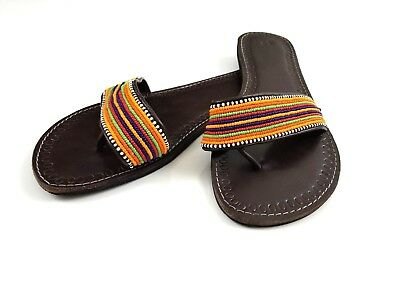 13890a988c732 Women's Sandals African Handmade Leather Beaded Tribal Maasai Size ...