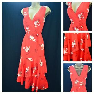 outlet on sale great fit top design Details about EX £45 WAREHOUSE ASYMMETRIC DRESS LAYERED WRAP RED WHITE  FLORAL DAISY SZ 6 - 18