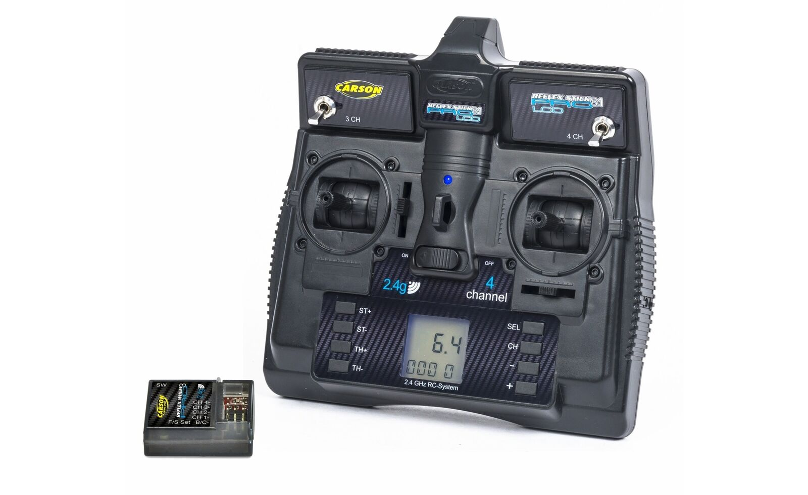Carson 500500085-FS reflex stick pro 3.1 2.4g LCD 4 canal mercancía nueva