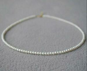 """2-3mm Japanese Akoya white round pearl necklace 14k  clasp Mini 16/""""  AAA"""