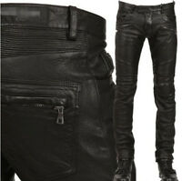Mens Motorcycle Slim Fit Pant Leather Military Punk Rock New Trousers Sz 28-38