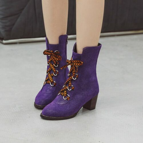 Womens Chic Denim Cowboy Boots Block Heels Lace Up Motorcycle Riding Ankle Boots