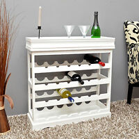 Cantinetta portabottiglie per 24 bottiglie in legno laccato bianco, vassoio