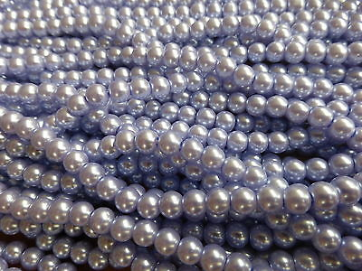 Imitation Faux Pearls 215 Beads 1 Strand x 4mm Lavender Blue Glass Pearl Beads