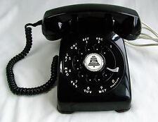 Vtg JAN 1958 BLACK Rotary Dial Western Electric 500 Telephone Restored Works!
