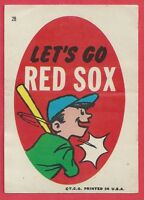 "1967 ⚾ Topps ⚾ #28 ⚾ Red Sox sticker ⚾ ""Lets Go RED SOX"" ��"
