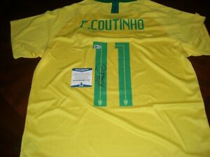 hot sale online a05c3 95896 Details about PHILIPPE COUTINHO NIKE BRAZIL WORLD CUP BECKETT/COA SIGNED  JERSEY