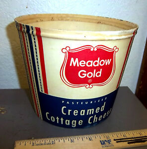 Vintage-Meadow-Gold-gallon-container-Creamed-Cottage-Cheese-great-colors