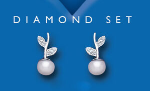 Pearl Earrings Diamond Stud Sterling Silver Studs Freshwater Pearl Real Diamond