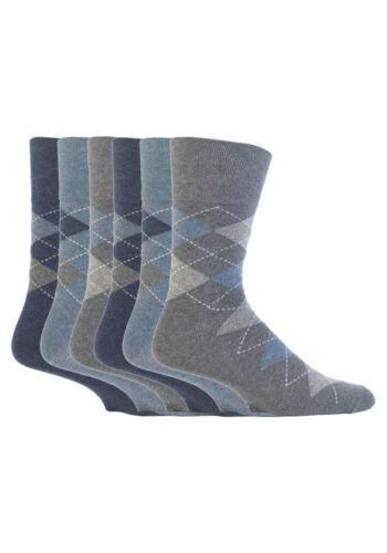 6 Paia Da Uomo Sockshop Cotone Gentle grip 6-11 UK Calzini