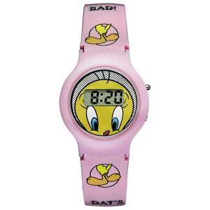 Warner-Bros-Uhr-TW-01-Tweety-Kinderuhr-Maedchen-Uhr-Girls-Watch-Rosa-NEU-amp-OVP