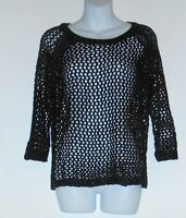 Mac Jac Ladies Open Lacy Design 3/4 Sleeve Knit Sweater Top Black Small (s)