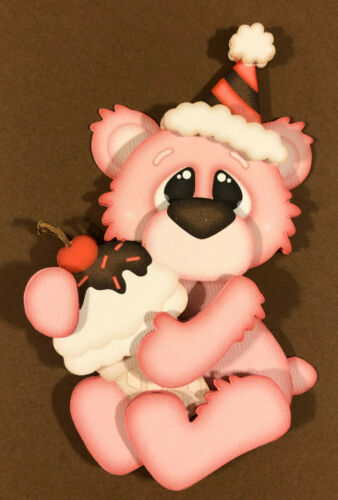 Pink Ice Cream Bear paper piecing premade piecing for scrapbook page die cut