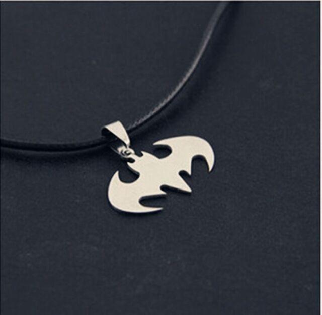 Women Men Pendant Necklace Chain Silver Stainless Steel Bat Batman Fashion Gift