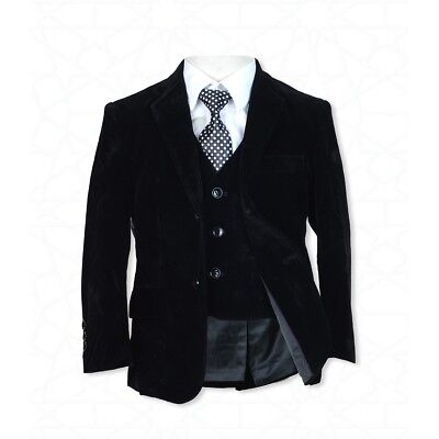 Boys Black Velvet Complete Set Suit Wedding Prom Communion Suit Diversified Latest Designs