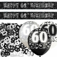 Black Silver Glitz 60th Birthday Banner Party Decoration Pack Kit Set