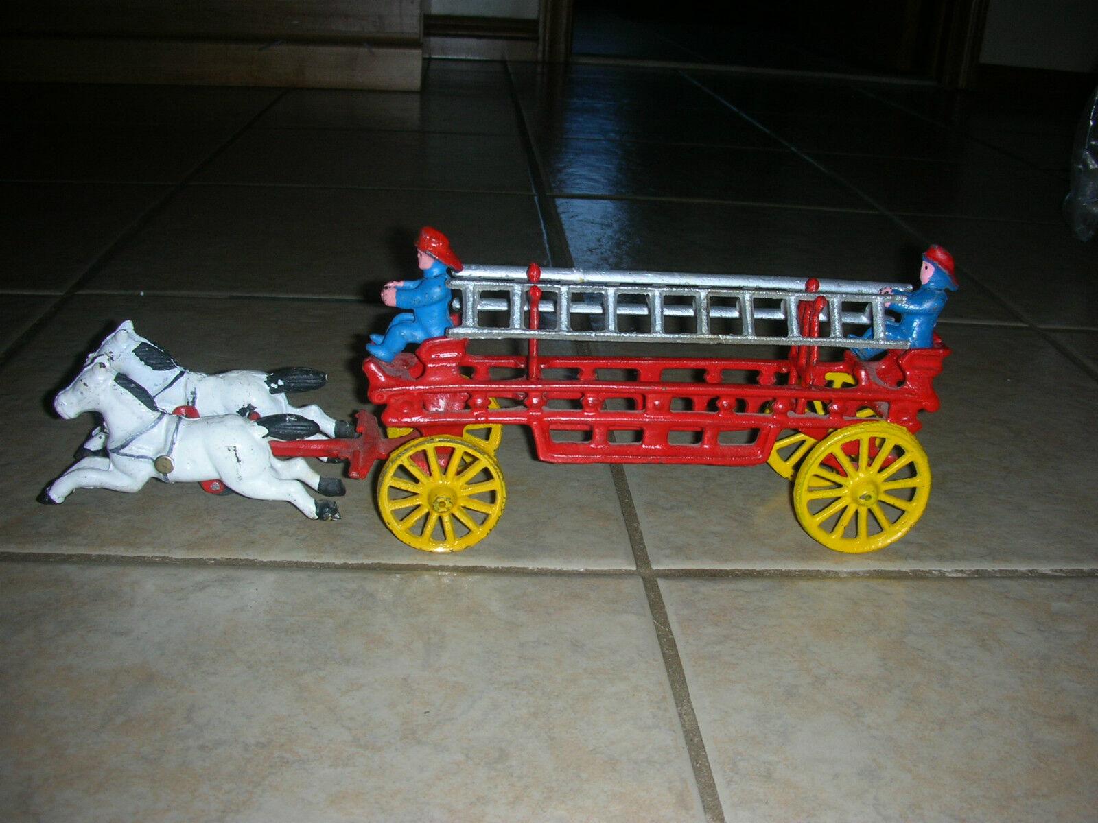 Vintage Cast Iron Horse Drawn Fire Engine