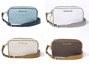 Details about Michael Kors CONNIE Logo Small Camera Bag Crossbody Brown Blue Vanilla White