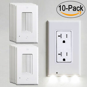 10X-Wall-Outlet-Cover-Plate-Socket-LED-Night-Light-Sensor-Auto-ON-OFF-Bedroom
