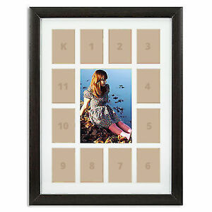 Craig Frames 12x16 Dark Brown Picture Frame White Collage Mat 13