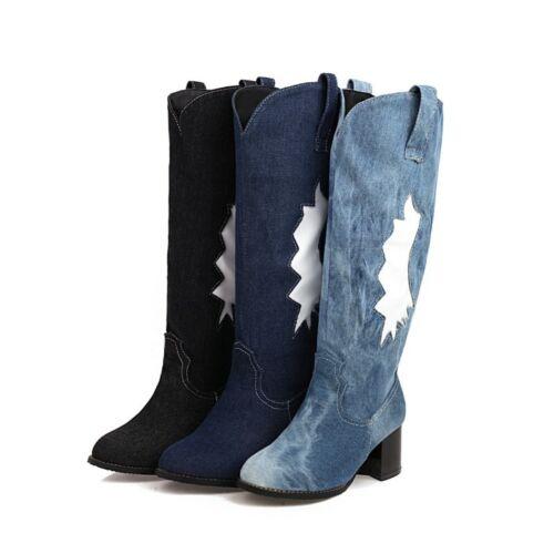 Women/'s Denim Round Toe Cowboy Low Heel Mid Calf Riding Knight Boots Outdoor D