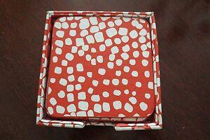 Set of 4 Diane Von Furstenberg (DVF) Coral and White Boxed Coasters