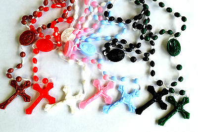 PLASTIC PRISON ISSUE ROSARY BEADS WHite Black Blue Pink Green Red Brown Rosaries