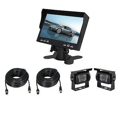 """Esky 7"""" TFT Monitor Waterproof Car Rear View Night Vision Backup 2 Camera System"""