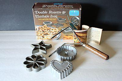VTG Nordic Wear Rosette Timbale Iron Original Box 4 Molds Scandinavian Pastry