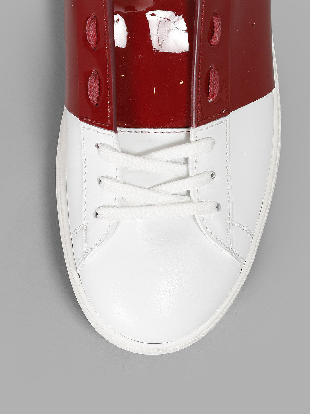 100% Authentic Valentino Open Rock Stud Stud Stud scarpe da ginnastica scarpe bianca Burgundy  e72628