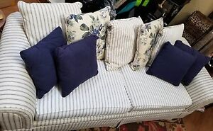 Image Is Loading 90 034 Sofa Navy Cream Pinstripe W Reversible