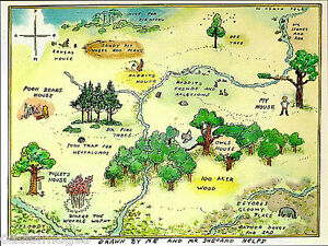 Winnie The Pooh 100 acre map Photographic print A4 or A5 by ... on 100 aker wood map, city map, drawing of a town map, gemini map, kingdom hearts 100-acre wood map, wooden story map, 100-acre wood rally map, 100-acre wood forest map, once upon a time map,