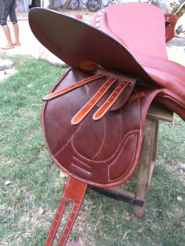 """Available size 16/"""" 17/"""" 18/"""" New Jump Close Contact 100/% Genuine Leather Saddle"""