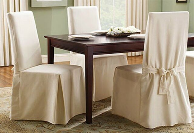 Leaf Damask Dining Room Chair Slipcover
