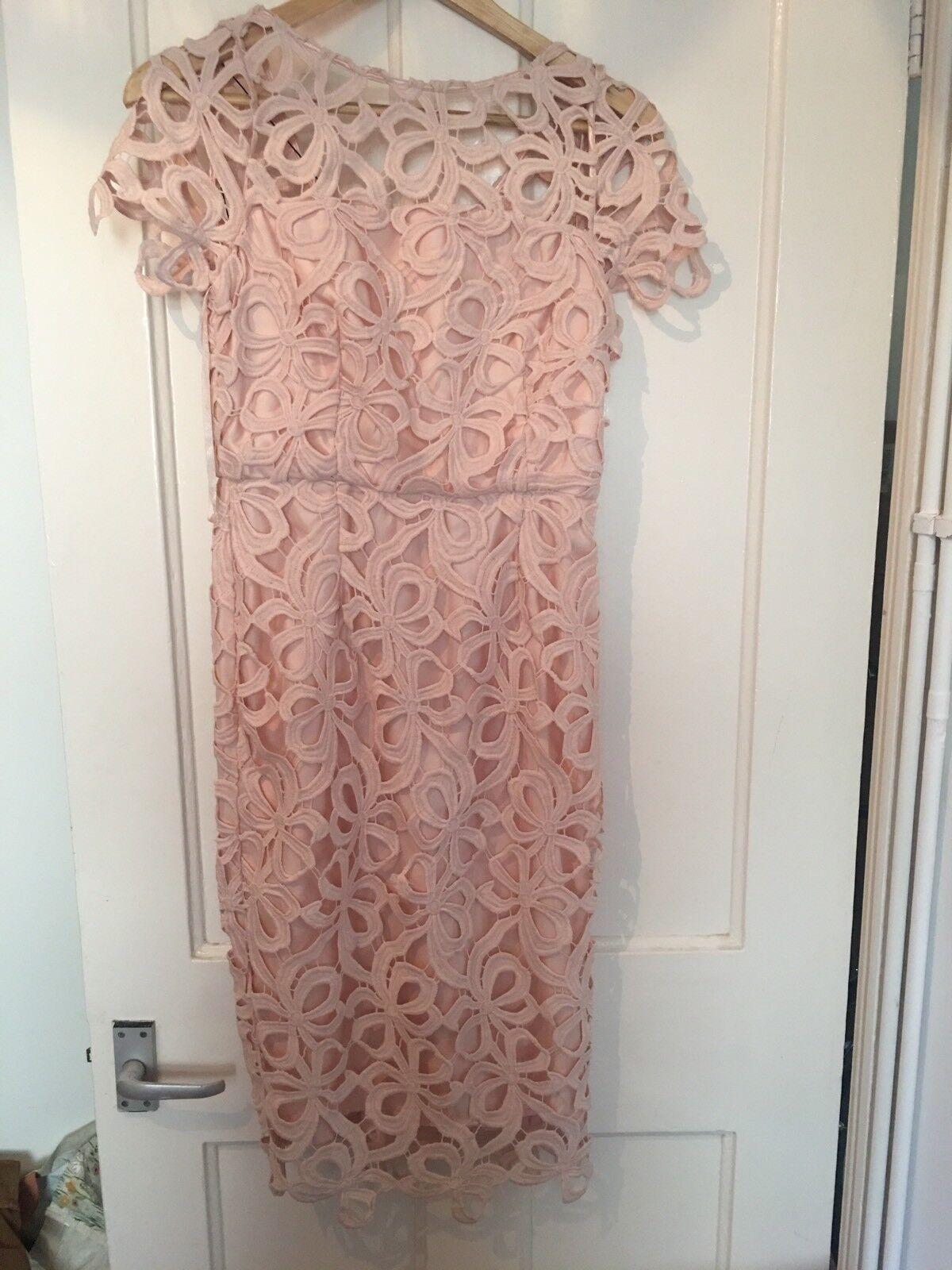 BNWT Coast Größe 8 Vanna Lou Sleeve Dress Blaush Light Rosa