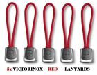 SET OF 5 VICTORINOX SWISS ARMY KNIFE RED LANYARDS !!! NEW !!!