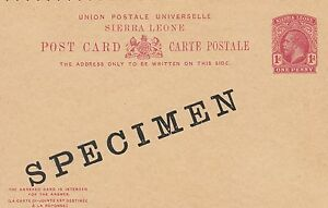 SIERRA LEONE:1912 ONE PENNY+ONE PENNY Postal Card+reply SPECIMEN H &G 14 unused