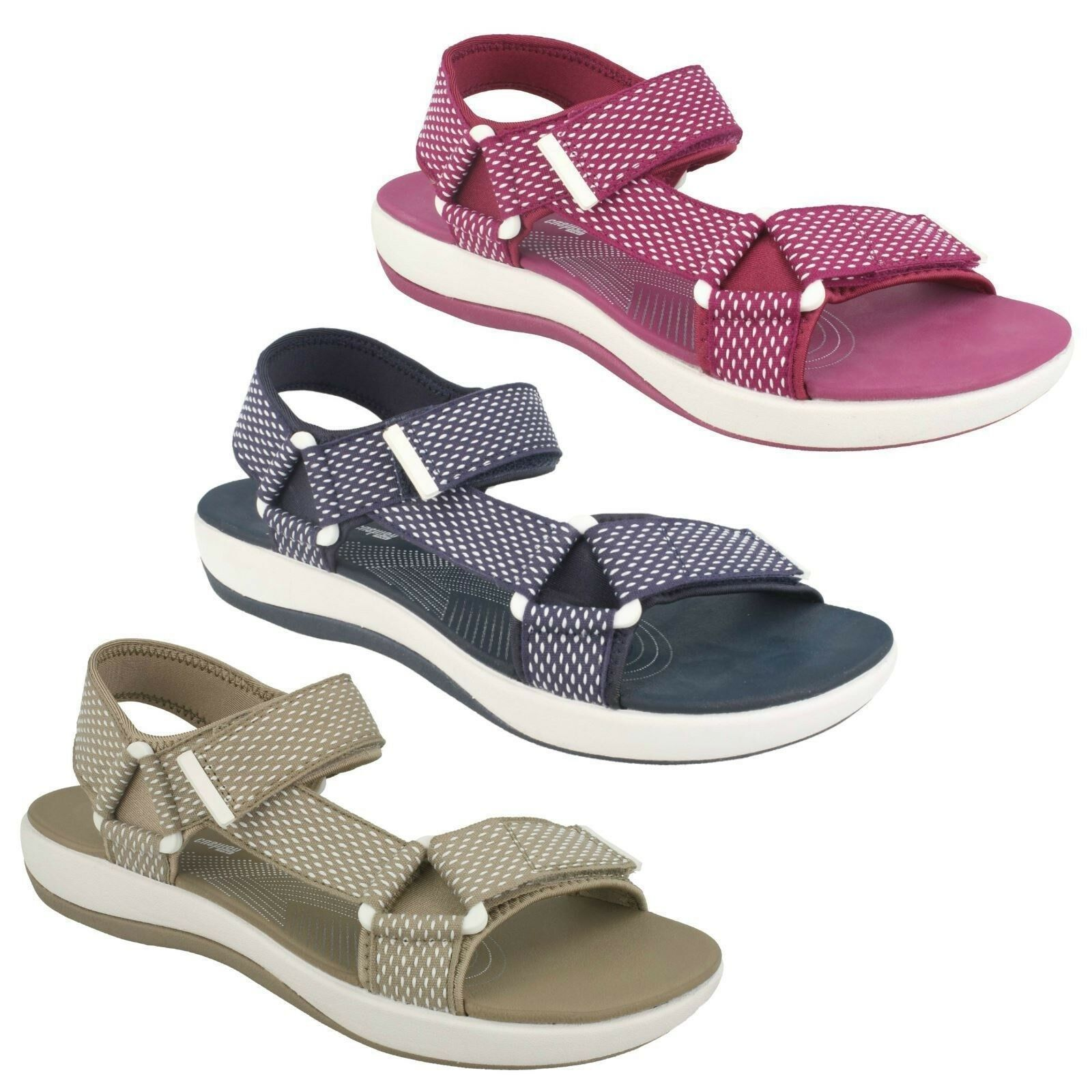 LADIES CLARKS CLOUDSTEPPERS SLINGBACK RIPTAPE SUMMER SANDALS SIZE BRIZO CADY