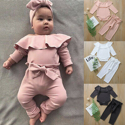 Newborn Infant Kid Baby Girl Top Romper Bodysuit Ripped Pants Outfit Clothes A8