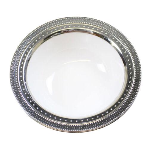 Wedding 30 x 5oz White Silver Rim Strong Disposable Plastic Dessert Bowls