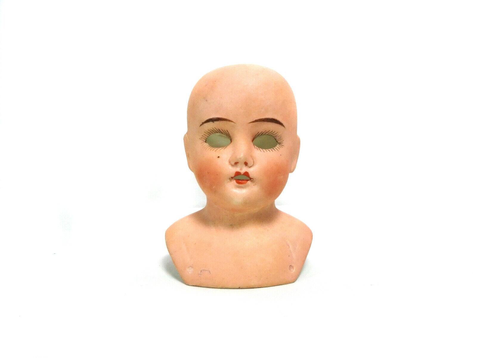 Antique bisque porcelain doll head, Ernst Heubach, shoulderplate