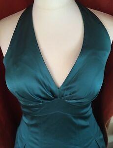 Teal-Green-satin-halterneck-plunge-neck-50s-style-prom-dress-warehouse-10-BNWoT