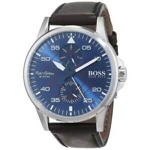 ef1385b06 Hugo Boss 1513515 Men's Pilot Aviator Blue Dial Leather Strap Watch ...