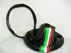 Cuffia cambio compatibile Fiat 500 vera pelle nera + tric + cornice interna