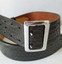 Vtg C A Hoffman Amp Son Basket Weave Black Leather Police Duty Security Belt 38