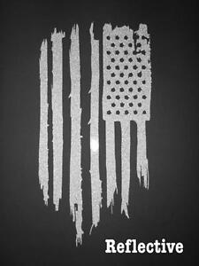 """2-3/"""" Thin Blue Line Subdued Tactical American Flag Reflective Decal Sticker F+R"""