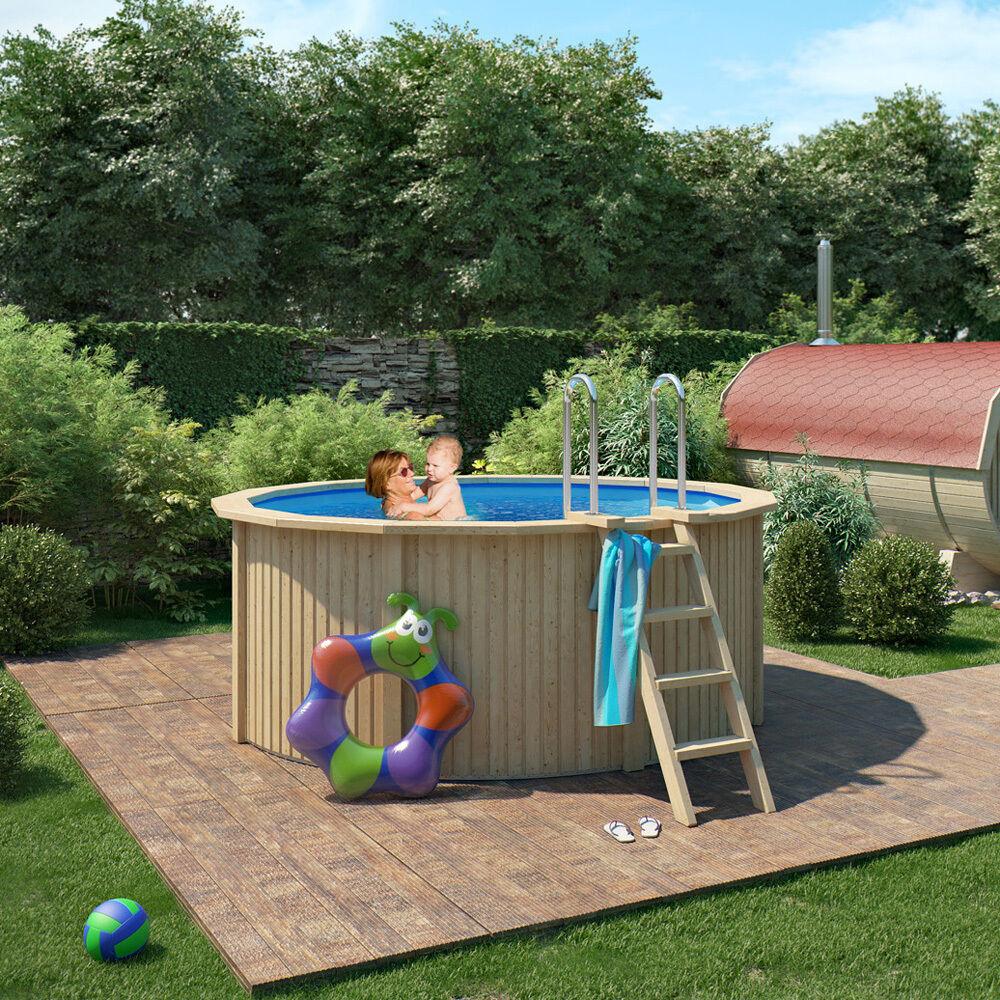 ISIDOR CONNIE Holzpool Pool mit Stahlwand inkl. Sand- Filteranlage 300x120cm