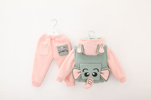Trouser 1-4yrs Toddler Girl 3PC Winter Outfit Set Elephant Costume Hooded+Gilet